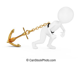 3d man pulls anchor isolated on white.