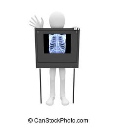 3d man pulmonary film - 3d man having a pulmonary film scan