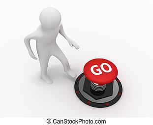 3d man push button go