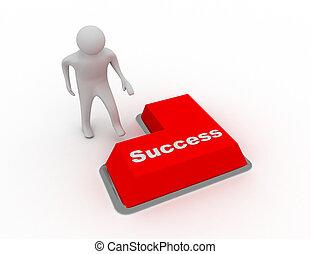 3d man push button success