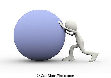 3d man pushing a ball uphill