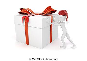 3d man pushing a big present box