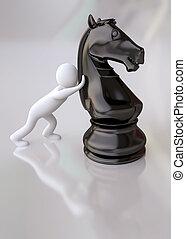 Man Pushing a Black Chess Horse - 3D Man Pushing a Black...