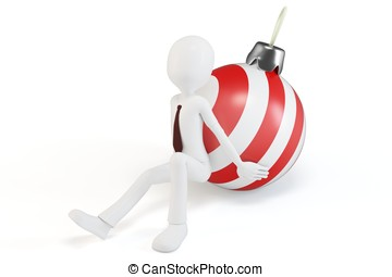 3d man pushing a christmas ball