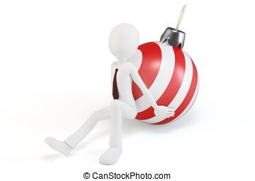 3d man pushing a christmas ball