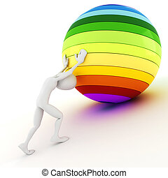 3d man pushing a colorful ball up hill