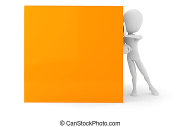 3d man pushing a cube, on white background