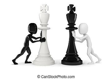3d man pushing a king chess figure
