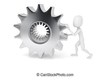 3d man pushing a metal gear wheel