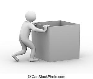 3d man pushing box