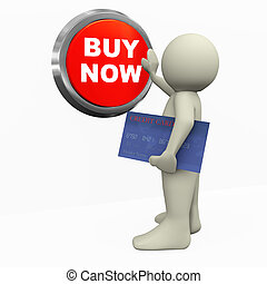 3d render of man with credit card, pushing buy now button. 3d illustration of human character