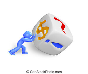 3d man pushing dice, isolated on white, 3D illustration