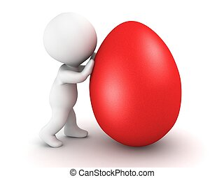 3D Man pushing Easter Egg - 3D character pushing a red...