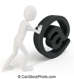 3d man pushing email sign