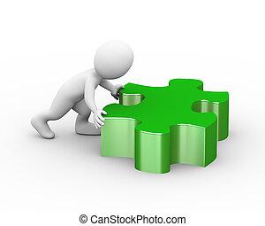 3d man pushing large puzzle piece