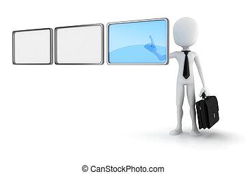 3d man pushing on a virtual screen
