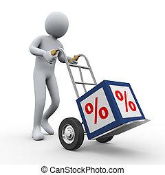 3d man pushing percent cube trolley - 3d illustration of...