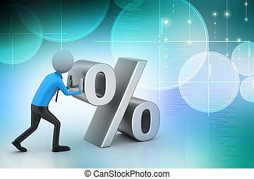 3d man pushing percent sign
