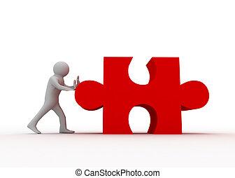 3d man pushing puzzle