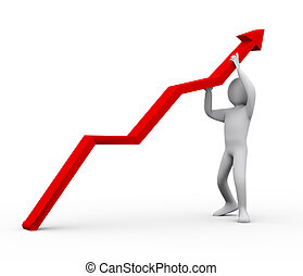 3d man pushing red arrow upward - 3d illustration of person...
