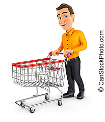 3d man pushing supermarket trolley, illustration with isolated white background