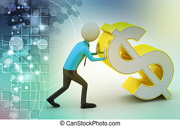 3d man pushing the dollar sign