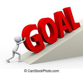 3d man pushing word goal
