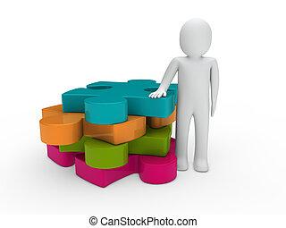 3d man puzzle pink green orange blue business