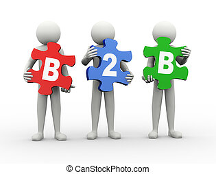3d man puzzle piece - b2b