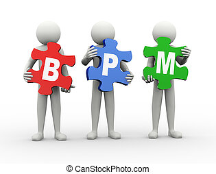 3d man puzzle piece - bpm - 3d rendering of people holding...