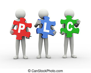 3d man puzzle piece - plc - 3d rendering of people holding...