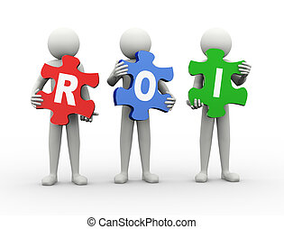 3d man puzzle piece - roi - 3d rendering of people holding...