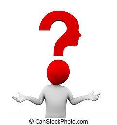 3d man question mark