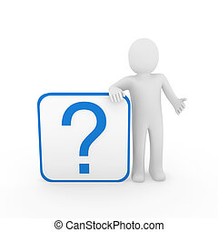 3d man question mark blue
