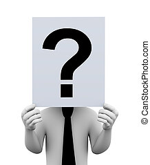 3d man question mark paper illustration
