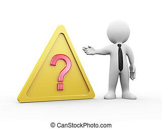 3d man question mark symbol sign warning