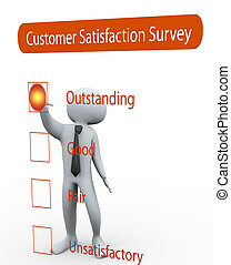 3d man rating Questionnaire about the level of satisfaction