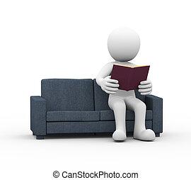 3d man reading a book on sofa
