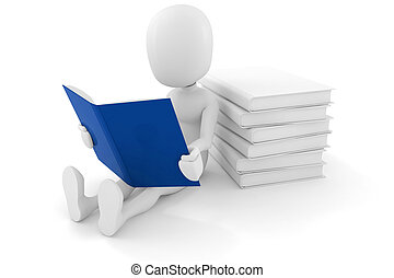 3d man reading a book on white background