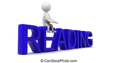 3d man reading a book while sitting on reading text concept