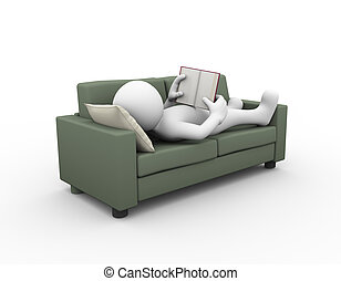 3d man reading and relaxing on couch