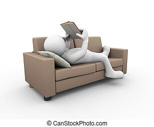 3d man reading book on sofa