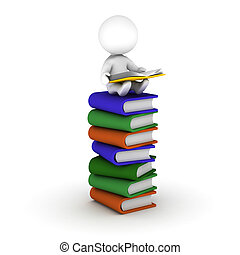 3D Man Reading Book Sitting on Stac