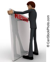 3d man reading news paper concept