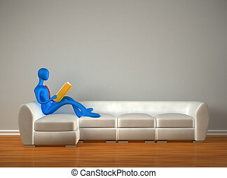 3d man reading the book in the modern interior