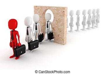 3d man regular person to business man transform concept