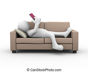 3d man relaxing and reading a book