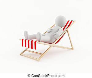 3D man relaxing in a beach chair