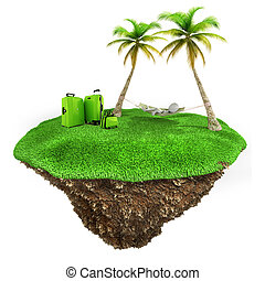 3d man relaxing on a little piece of land with fresh green grass on white background