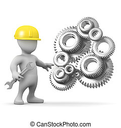 3d Man repairs the geared machine - 3d render of a little...